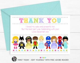 PRINCESS SUPERHERO Thank you Card, Superhero Thank you, Princess Thank you, Superhero Princess Party, Thank you Card, Costume Party