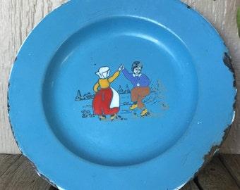 Sweet, Vintage Enamelware Plate made in Germany, children dancing on front