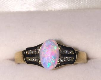 1ct Solid Opal and Diamond Ring in 9K Yellow Gold. Vintage, circa 1970's.