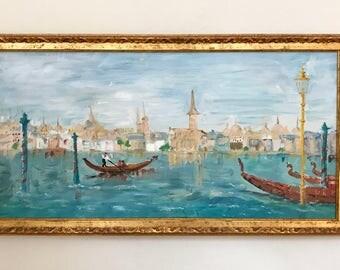 Venice Gondolas Original Vintage Oil on Canvas Painting