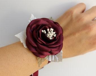 Wedding Wrist Corsage Marsala Ivory Rose Corsage Burgundy Maroon Flower Corsage bridal Bridesmaid Flower Corsage Fabric Corsage Prom Corsage