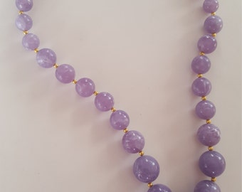 """JOAN RIVERS Gold Tone Marbled Purple Lavender Lucite Graduated Bead 20""""Necklace"""