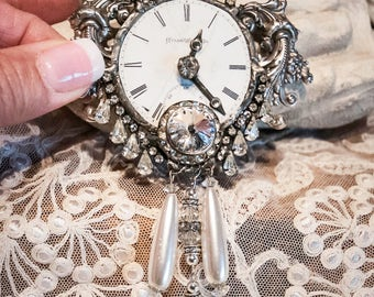 Handmade Jewelry Watch Face Pendant with Vintage Jewelry, Rhinestones and Nickel Silver Details