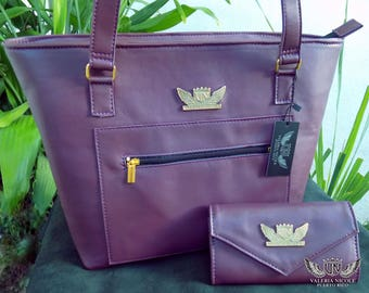 Purple Leather Large Tote and Wallet Combo