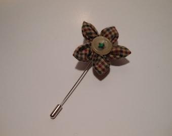 Brown Plaid Tweed Flower Lapel Pin
