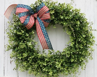 Front Door Wreaths, Patriotic Wreath, Summer Wreaths, Boxwood Wreath, 4th of July Decor, Americana Wreath, Stars and Stripes, Red White Blue