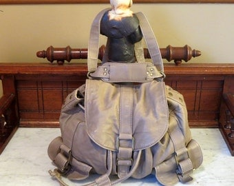 Convertible Backpack And Crossbody Bag In Soft Taupe Leather- Excellent Used Condition