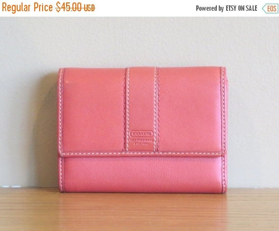 Football Days Sale Coach Trifold Leather Wallet Clutch In a Rare Coral Rose  Color Leather -VGC