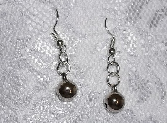 Jingle Bell Silver Tone Hand Crafted Earrings