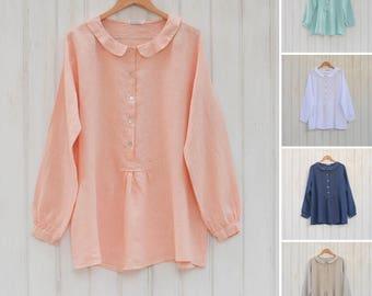 Plus Size Linen, Lagenlook Linen top Ladies Long sleeve linen blouse Linen Shirt, Womens Linen summer blouse Vintage Boho, Mori Girl 8935