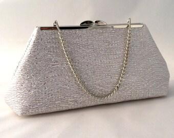 Silver Cocktail Clutch ~ Silver Purse ~ Silver Brides Maid Clutch Purse Bag ~ Silver Evening Purse