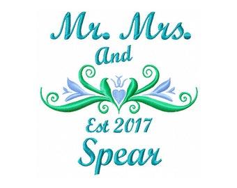 Mr and Mrs Embroidery Design - Wedding Monogram Design - Wedding Embroidery Design - Machine Embroidery - Mr and Mrs Digital Design - Hearts