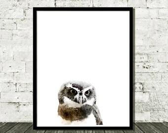 Watercolor Owl Art, Owl Printable Art, Woodland Printable, Owl Print, Nursery Art, Nursery Watercolor, Nursery Print, Digital Download