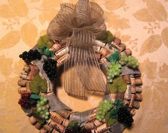 Wine Cork Wreath Handcrafted One-Of-A-Kind Grapes Burlap Vino