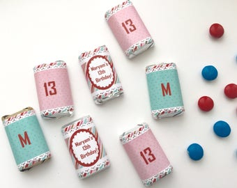 WRAPPED MINI chocolates, Girl birthday theme, mini candy wrappers, birthday favors, pink birthday party, pink and blue baby, pastel, 50 ct