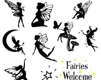 Fairy Fairies Silhouettes SVG Clipart DXF Fairytale Fairy Fairies Cricut Silhouette Cameo