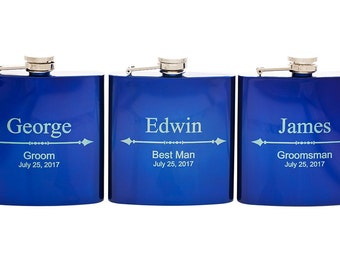 Personalized Groomsman Flask, Custom Laser Engraved Hip Flask, Wedding Gift for Best Man, Bachelor Party, Birthday, Groomsmen, Party Favor