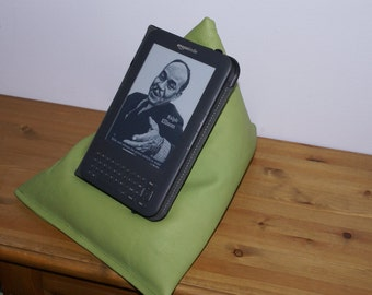 Edge Beanbags Limited Edition Genuine Leather Techbed - A bright green leather Kindle cushion, iPad pillow, tablet or book beanbag stand
