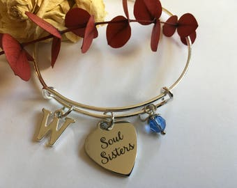 "Soul Sisters"" Adjustable Bangle Bracelets Personal Initials and Birthstone Choices Best Friends  Gift Affordable & Gift Wrapped Buy Several"