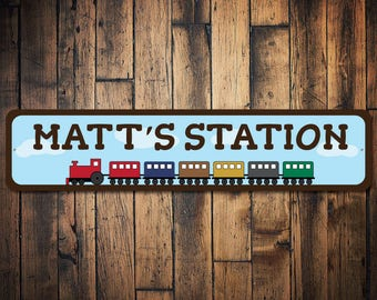 Train Sign, Kid Room Train Decor, Train Station Sign, Custom Child Sign, Train Lover Gift, Kid Train Gift - Quality Aluminum ENS100007