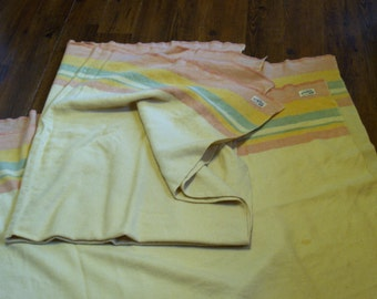 Pair of vintage Hudson's Bay wool Style camp blanket pink green yellow cream stripes Soft synthetic Henry Morgan Montreal 72 x 58