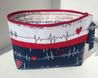 Make Up Bag, Registered Nurses,  Heart Beat, R.N. Zipper Pouch,