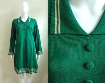 40%OffJune20-22 60s wool sweater dress size medium/large, fine knit wool dress, 1960s sweater mini dress, mad men minimalist green dress