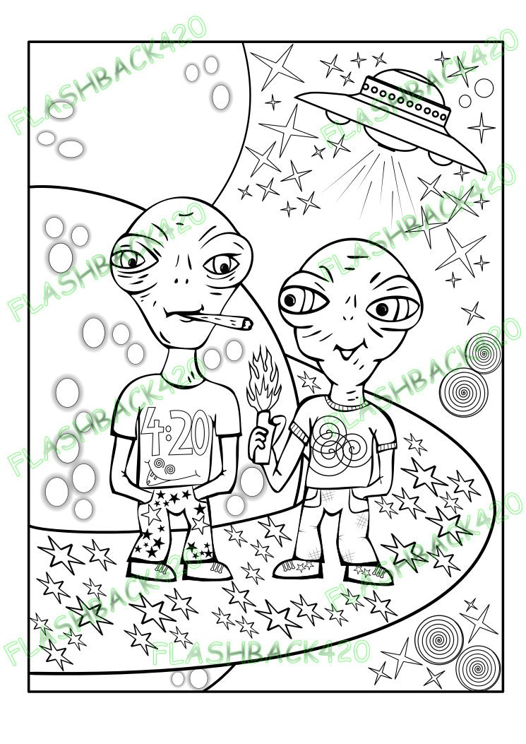 Stoner aliens adult coloring page gift for stoner best for Printable stoner coloring pages