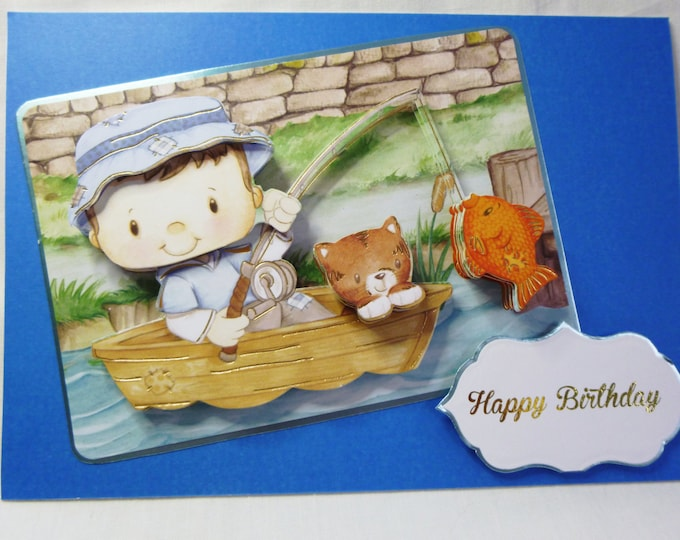 3 D Decoupage Card, Children's Card, Birthday Card, Greeting Card, Any Age, Boy and Cat in  Boat, Fishing, Boys Card, Son, Brother, Nephew,