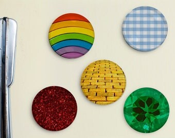 Wizard of Oz Magnets - Dorothy, Rainbow, Ruby Slippers, Yellow Brick Road, Cowardly Lion, Emerald City, Father's Day Gift, Gift for Dad