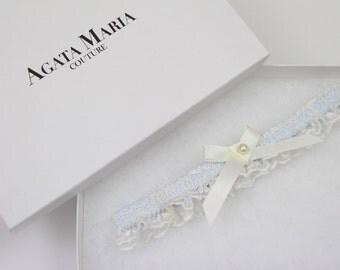 Alice Something Blue Wedding Garter, Ivory Wedding Garter, Toss Garter, Lace Garter, Swarovski Pearl Bridal Garter, Wedding Garter Gift