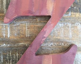 "Rustic Wine Colored Letter 'Z' Monogram, Rustic Home Decor, Painted Monogram, 7 3/4""H"