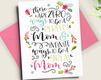 Printable Art Mother Mom Card-Hand Lettered Quote or Framed Print