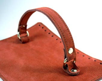 Dirty pink suede bag cap with handle Dimensions: 25x19 cm or custom suede leather bag accessories straps,purse straps,anses cuir, bag