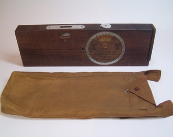 "antique wooden german ""Falke"" bubble level, clinometer and ruler tool in it's original case"