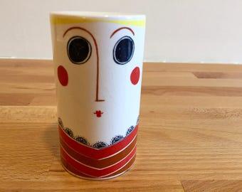 Vintage Carlton Ware Lady Salt Shaker | Salt and Pepper Pot | Porcelain Retro Graphic Design