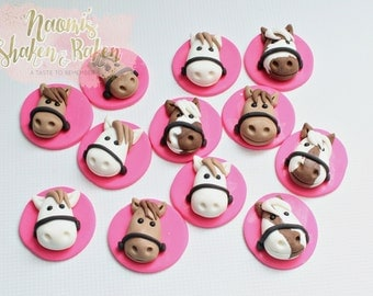 12x Horse Edible Cupcake Toppers