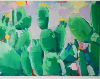 Original painting modern art, acrylic painting, handmade, cactus, landscape, pink, green, large, wallart, original acrylic mixed media art