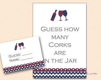 Navy and Red Wine How many corks, guess how many corks in the jar, Wine Theme Bridal Shower Game Printables, Wine Wedding Shower Game BS102