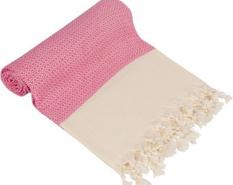 "BIG SALE 60% -Fushia Pink Turkish Peshtemal-100x180 cm / 40""x71"" - Spa Towel Turkish Towel Beach Towel Bath Towel"