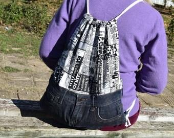 Denim Backpack, Drawstring Backpack, Boho Hippie backpack, School Backpack, Patchwork Backpack
