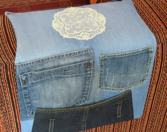 Denim sofa organizer, Remote control organizer, Fabric remote Caddy, Armchair Remote Caddy, family gift