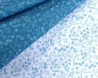 Original design quilting fabric, 2 x fabric fat quarters- Gum Doodles Teal - Small Pattern