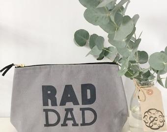 Mens Rad Dad Wash Bag. Canvas, Black Lined, Zip Fastening. Dad, Brother, Gift, Birthday, Wash Bag, Travel, Toiletries
