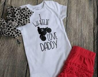 Daddy's new riding buddy atv four wheeler quad motocross racing shirt, I wheelie love Daddy shirt