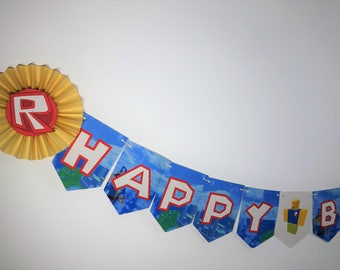Roblox-inspired Happy Birthday Banner, Roblox Party (Printed on Tree-Free Banana Paper!)(Please note: Paper fans are sold separately)