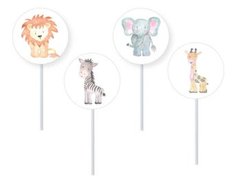 Safari Animal Cupcake Toppers, Jungle Animal Cupcake Topper Kit, 1st Birthday, Baby Shower, Kids Party, Jungle Party, Safari Party, Favours