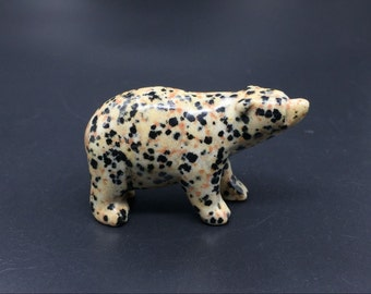 Dalmatian Jsaper Bear Figurine Crystal Polar Bear Figurine Bear Sculpture Stone Carved Polar Bear Statuette Stone Animals Healing AN-08