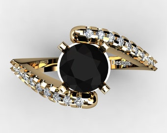 Modern French 14K Yellow Gold 1.0 Ct Black And White Diamond Ring R1099-14KYGDBD