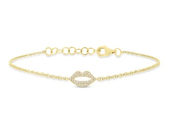 Solid Gold Dainty Women's Diamond Charm Bracelet, 0.08CT 14K Yellow Gold Natural Diamond Pave Lips Bracelet